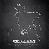 stock photo of bangladesh  - Bangladesh map blackboard chalkboard vector template dark - JPG