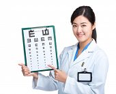 Asian female optometrist show eye chart