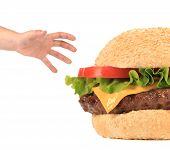 Big appetizing hamburger and hand.