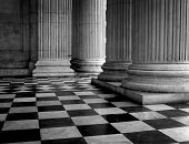 stock photo of stone floor  - Tiled floor of St Pauls Cathedral entrance London - JPG