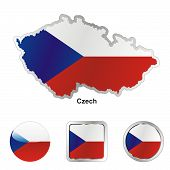 flag of czech in map and web buttons shapes