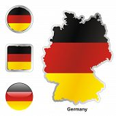 flag of Germany in map and web buttons shapes