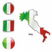 flag of Italy in map and web buttons shapes