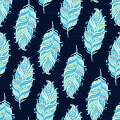 Vector Seamless pattern with decorative feather