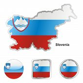 flag of Slovenia in map and web buttons shapes