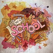 School watercolor cartoon hand lettering and doodles elements