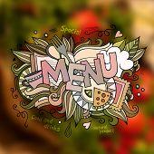 Menu hand lettering and doodles elements illustration