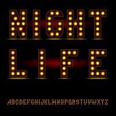 lightbulb alphabet font night life
