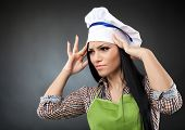 Woman Cook With Strong Migraine