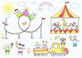 Happy children ride on the carousel. Sketch on notebook page
