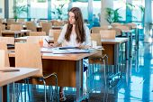 Girl Studying In The University Canteen With Fresh And Cake
