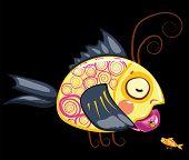 cartoon characters, tea drinking fish