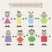 Shaped body buddies - Set of basic different cute shaped characters in colorful minimal flat design