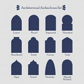 stock photo of greek-architecture  - Set of common types of architectural arches silhouette icons with their names - JPG