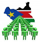 Lines of people with South Sudan map flag illustration