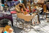 Flea market on the of Square in Strasburg. France, Alsace