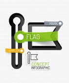 Vector flag icon infographic concept. Modern flat line art icon design with cloud tags on transparen