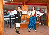 HAKIDIKI, GREECE-MAY 25, 2014: Greek folk music and dancing with traditional costume entertained tou