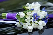Постер, плакат: bouquet of flowers blue and white colors of irises and tulips for the wedding