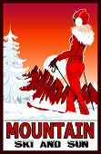 Poster of a woman practicing ski in the white snowy mountains - vector illustration