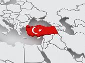 Map of worlds. Turkey. 3d