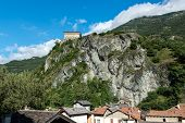 stock photo of promontory  - Verres Castle on a rocky promontory Aosta Valley  - JPG