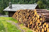 Woodpile And Log House With Stone Roof, Cuneaz (italy)