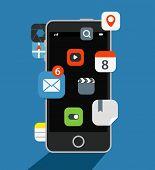 Internet commerce illustration. Flat design concept