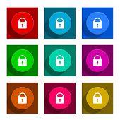padlock colorful flat icons set