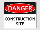Danger construction site sign vector illustration