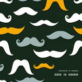 Fun silhouette mustaches frame corner pattern background