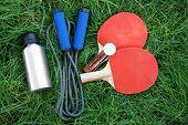 Assortment of sport equipment on green grass background