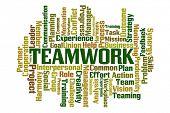 Teamwork word cloud on white background