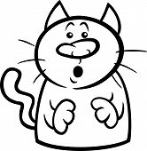 Surprised Cat Cartoon Coloring Page