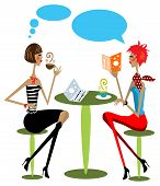 2 Woman Drink Coffee, Talking, Reading Fashion Magazine Cartoon Illustration