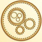 Vector illustration of metallic golden gear wheels