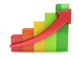 picture of going out business sale  - 3d colored bar graph chart with red arrow going up on white - JPG