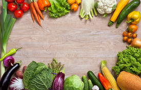 image of nutrients  - studio photography of different fruits and vegetables on wooden table - JPG