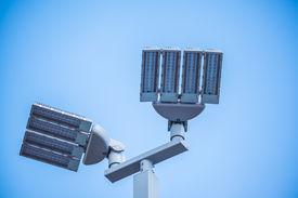 stock photo of lamp post  - LED street lamps post on white background - JPG