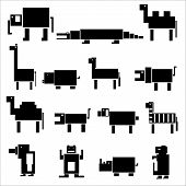 Black Square Digital Simple Retro Animals Eps10