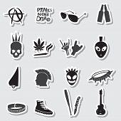 Various Black Punk Stickers Set Eps10