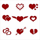 Set Of Red Valentine Hearth Love Symbols Eps10
