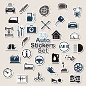 Set of auto icon stickers