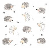 Childish hedgehog cute pattern design