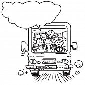 Schoolkids in school bus speaking