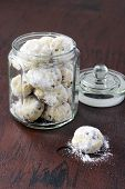 Chocolate Snowballs: Biscuits With Chocolate Chips Coated With Icing Sugar