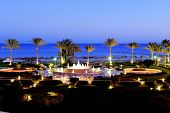Sunset And Beach Of The Luxury Hotel, Sharm El Sheikh, Egypt