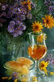 Still-life With White Wine, Honey And A Bouquet