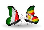 Two Butterflies With Flags On Wings As Symbol Of Relations Italy And Zimbabwe