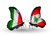 Two Butterflies With Flags On Wings As Symbol Of Relations Italy And Lebanon